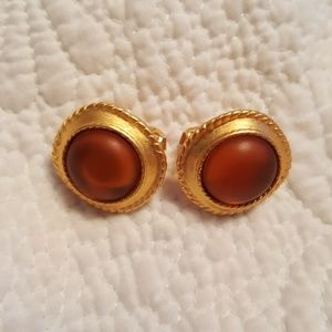 Vintage kenneth jay lane deep orange earrings